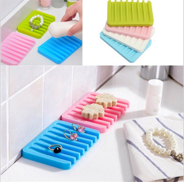 1PC Plate Tray Drain Bathroom Silicone Flexible Soap Dish Storage Holder Soapbox