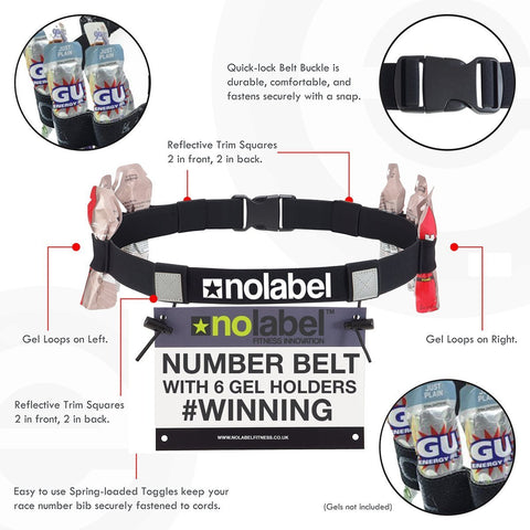 TEAM RACE Number Belt + 6 Energy Gel Loops