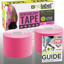 Pre Cut Kinesiology Tape - Pre-Cut Sport Tapes Strapping For Muscle Sports Support | Pro 5m Medical Roll No Label H20 20 x Precut Waterproof Athletic Physio Muscles Strips | FREE PDF Ebook Taping Guide