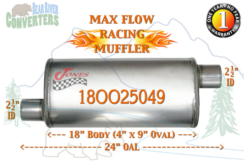 "18OO25049 Jones MF1266 Max Flow Racing Muffler 18"" Oval Body 2 1/2"" 2.5"" Pipe Offset/Offset 24"" OAL - Bear River Converters"