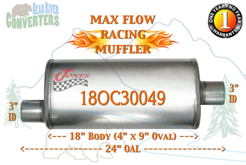 "18OC30049 Jones MF1259 Max Flow Racing Muffler 18"" Oval Body 3"" Pipe Offset/Center 24"" OAL - Bear River Converters"