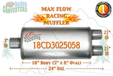 "18CD3025058 Jones MF2288 Max Flow Racing Muffler 18"" Oval Body 3"" Center/ 2 1/2"" Dual Pipe 24"" OAL - Bear River Converters"