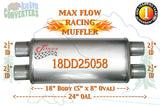 "18DD25058 Jones MF2468 Max Flow Racing Muffler 18"" Oval Body 2 1/2"" 2.5"" Pipe Dual/Dual 24"" OAL - Bear River Converters"