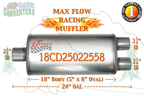 "18CD25022558 Jones MF2251 Max Flow Racing Muffler 18"" Oval Body 2 1/2"" Center/ 2 1/4"" Dual 24"" OAL"