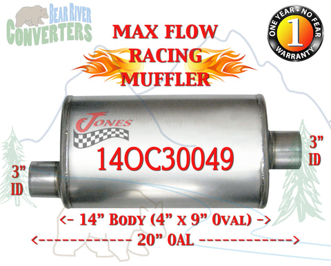 "14OC30049 Jones MF1229 Max Flow Racing Muffler 14"" Oval Body 3"" Pipe Offset/Center 20"" OAL - Bear River Converters"