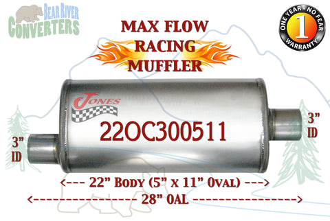 "22OC300511 Jones MF2589 Max Flow Racing Muffler 22"" Oval Body 3"" Pipe Offset/Center 28"" OAL - Bear River Converters"