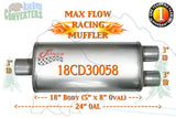 "18CD30058 Jones MF2298 Max Flow Racing Muffler 18"" Oval Body 3"" Pipe Center/Dual 24"" OAL - Bear River Converters"