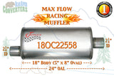 "18OC22558 Jones MF2255 Max Flow Racing Muffler 18"" Oval Body 2 1/4"" 2.25"" Pipe Offset/Center 24"" OAL - Bear River Converters"