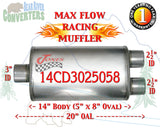 "14CD3025058 Jones MF2198 Max Flow Racing Muffler 14"" Oval Body 3"" Center/ 2 1/2"" Dual Pipe 20"" OAL - Bear River Converters"
