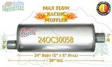 "24OC30058 Jones MF2289 Max Flow Racing Muffler 24"" Oval Body 3"" Pipe Offset/Center 30"" OAL - Bear River Converters"
