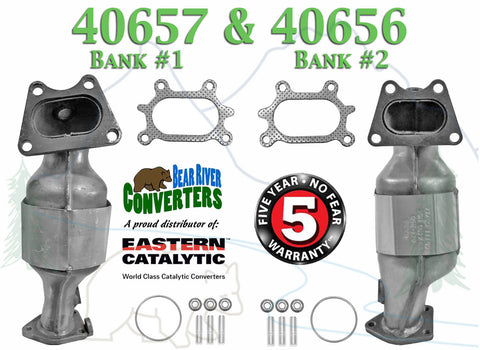 Eastern 40657 & 40656 Direct Fit Catalytic Converter Set / Front Right Firewall Side Bank #1 & Front Left Radiator Side Bank #2 / Acura MDX 3.5L & 3.7L, TL 3.2L & 3.5L / Honda Accord 3.0L, Odyssey 3.5L,  Pilot 3.5L, Ridgeline 3.5L / Saturn Vue 3.5L - Bear River Converters