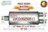 "22CD30250511 Jones MF2588 Max Flow Racing Muffler 22"" Oval Body 3"" Center / 2 1/2"" Dual Pipe 24"" OAL - Bear River Converters"