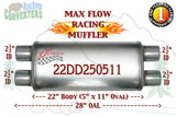 "22DD250511 Jones MF2568 Max Flow Racing Muffler 22"" Oval Body 2 1/2"" 2.5"" Pipe Dual/Dual 28"" OAL - Bear River Converters"