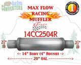 "14CC2504R Jones JXS0416 Max Flow Racing Muffler 14"" Round Body 2 1/2"" 2.5"" Pipe Center/Center 20"" OAL - Bear River Converters"