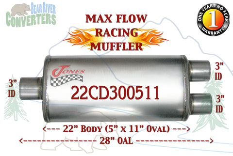 "22CD300511 Jones MF2590 Max Flow Racing Muffler 22"" Oval Body 3"" Pipe Center/Dual 28"" OAL - Bear River Converters"