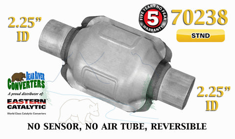 "70238 Eastern Universal Catalytic Converter Standard 2.25"" 2 1/4"" Pipe 6"" Body - Bear River Converters"