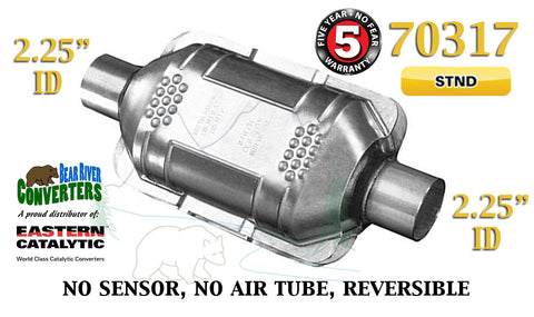"70317 Eastern Universal Catalytic Converter Standard 2.25"" 2 1/4"" Pipe 10"" Body - Bear River Converters"