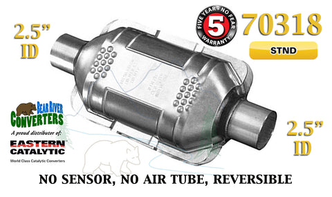 "70318 Eastern Universal Catalytic Converter Standard 2.5"" 2 1/2"" Pipe 10"" Body - Bear River Converters"