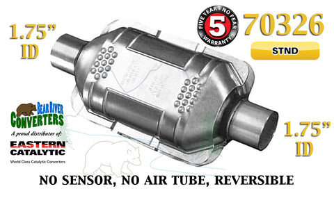 "70326 Eastern Universal Catalytic Converter Standard 1.75"" 1 3/4"" Pipe 10"" Body - Bear River Converters"