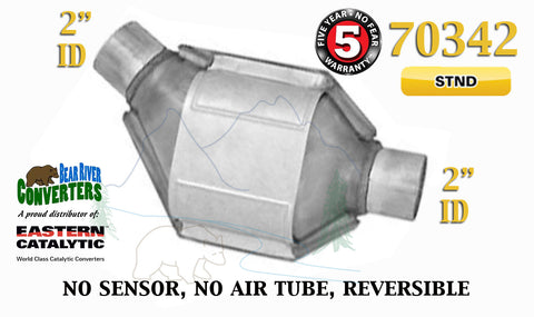 "70342 Eastern Universal Catalytic Converter Standard Catalyst 2"" Pipe 8"" Body - Bear River Converters"