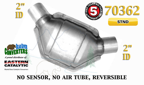 "70362 Eastern Universal Catalytic Converter Standard Catalyst 2"" Pipe 8"" Body - Bear River Converters"