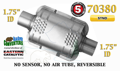 "70380 Eastern Universal Catalytic Converter Standard 1.75"" 1 3/4"" Pipe 8"" Body - Bear River Converters"