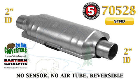 "70528 Eastern Universal Catalytic Converter Standard Catalyst 2"" Pipe 14"" Body - Bear River Converters"