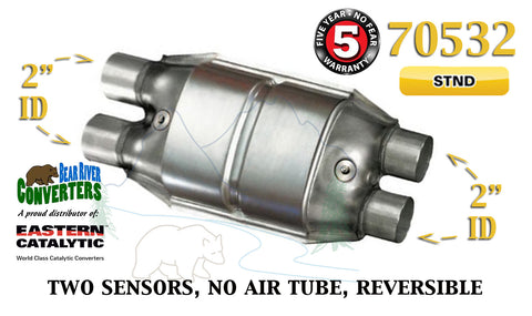 "70532 Eastern Universal Catalytic Converter Standard 2"" Dual Pipe 12"" Body - Bear River Converters"