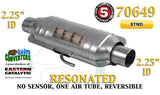 "70649 Eastern Universal Catalytic Converter Resonated 2.25"" 2 1/4"" Pipe 14"" Body - Bear River Converters"