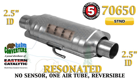 "70650 Eastern Universal Catalytic Converter Resonated 2.5"" 2 1/2"" Pipe 14"" Body - Bear River Converters"
