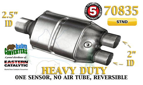 "70835 Eastern Catalytic Converter Heavy Duty 2.5"" Single / 2"" Dual Pipe 13"" Body - Bear River Converters"