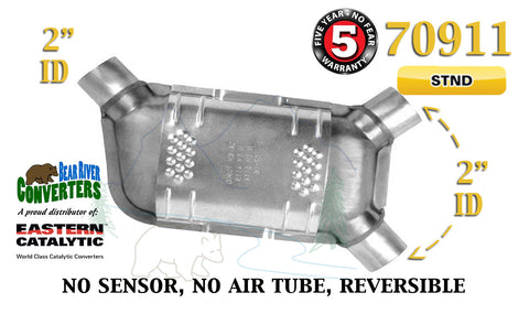 "70911 Eastern Universal Catalytic Converter Standard 2"" Angle Pipe 12.5"" Body - Bear River Converters"