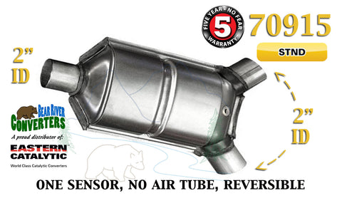 "70915 Eastern Universal Catalytic Converter Standard 2"" Dual Angle Pipe 12"" Body - Bear River Converters"