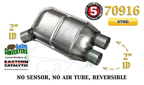 "70916 Eastern Universal Catalytic Converter Standard 2"" Angle Dual Pipe 12"" Body - Bear River Converters"