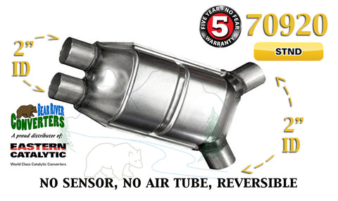"70920 Eastern Universal Catalytic Converter Standard 2"" Dual Pipe 12"" Body - Bear River Converters"