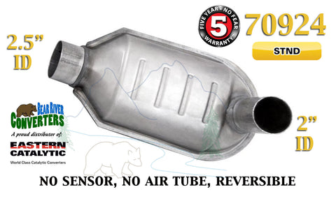 "70924 Eastern Universal Catalytic Converter Standard 2.5"" / 2""  Pipe 12"" Body - Bear River Converters"