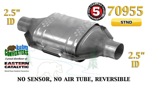 "70955 Eastern Universal Catalytic Converter Standard 2.5"" 2 1/2"" Pipe 12"" Body - Bear River Converters"