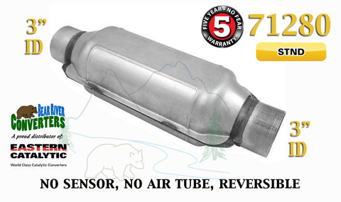 "71280 Eastern Universal Catalytic Converter Standard Catalyst 3"" Pipe 12"" Body - Bear River Converters"