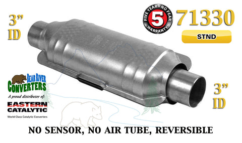 "71330 Eastern Universal Catalytic Converter Standard Catalyst 3"" Pipe 12"" Body - Bear River Converters"