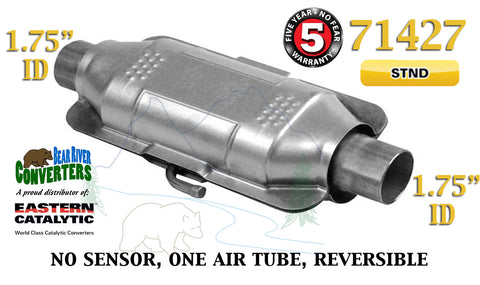"71427 Eastern Universal Catalytic Converter Standard 1.75"" 1 3/4"" Pipe 12"" Body - Bear River Converters"