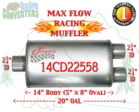 "14CD22558 Jones MF2149 Max Flow Racing Muffler 14"" Oval Body 2 1/4"" 2.25"" Pipe Center/Dual 20"" OAL - Bear River Converters"