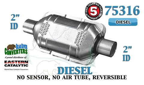 "75316 Eastern Universal Catalytic Converter Diesel Catalyst 2"" Pipe 10"" Body - Bear River Converters"