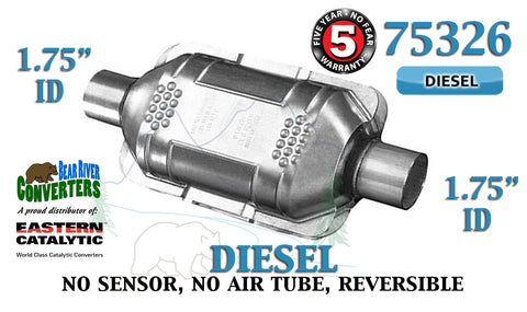 "75326 Eastern Universal Catalytic Converter Diesel 1.75"" 1 3/4"" Pipe 10"" Body - Bear River Converters"