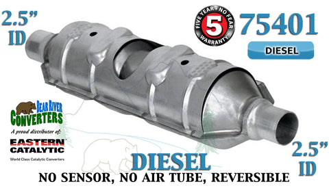 "75401 Eastern Universal Catalytic Converter Diesel Torpedo 2.5"" Pipe 23"" Body - Bear River Converters"