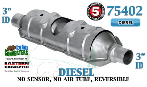 "75402 Eastern Universal Catalytic Converter Diesel Torpedo 3"" Pipe 23"" Body - Bear River Converters"
