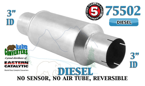 "75502 Eastern Universal Catalytic Converter Diesel Tinman 3"" Pipe 13.5"" Body - Bear River Converters"