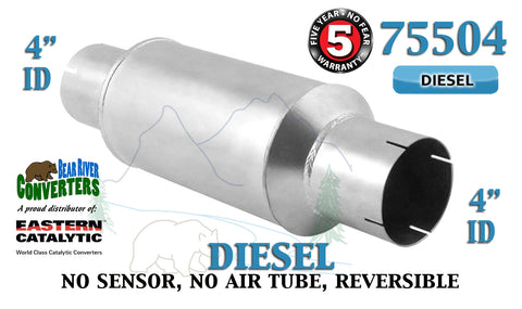 "75504 Eastern Universal Catalytic Converter Diesel Tinman 4"" Pipe 13.5"" Body - Bear River Converters"