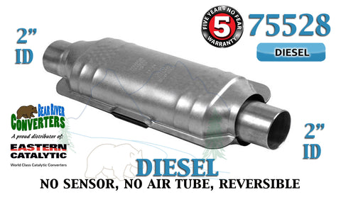 "75528 Eastern Universal Catalytic Converter Diesel Catalyst 2"" Pipe 14"" Body - Bear River Converters"