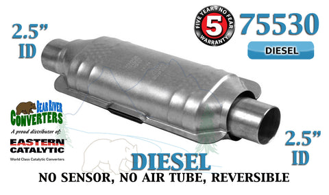 "75530 Eastern Universal Catalytic Converter Diesel 2.5"" 2 1/2"" Pipe 14"" Body - Bear River Converters"
