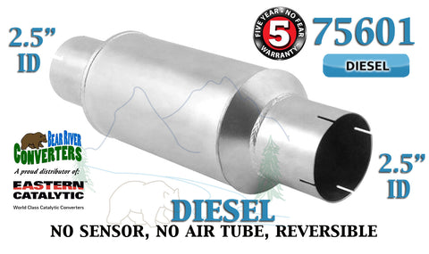 "75601 Eastern Universal Catalytic Converter Diesel Tinman 2.5"" Pipe 13.5"" Body - Bear River Converters"
